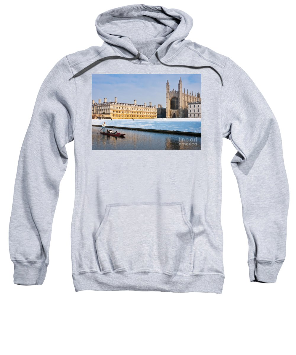 Anglia Sweatshirt featuring the photograph Winter Snow At Kings by Andrew Michael