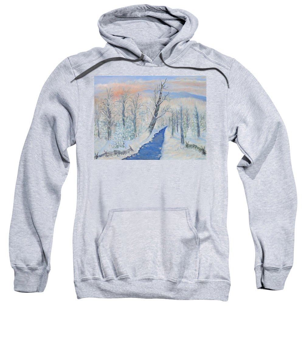 Winter Sweatshirt featuring the painting Winter Sunrise by Ben Kiger