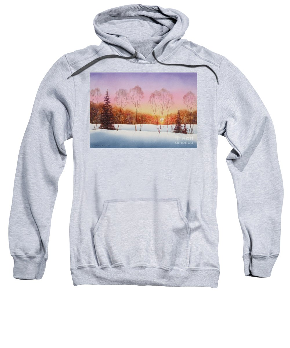 Winter Sunset Sweatshirt featuring the painting Winter Sunset by Deborah Ronglien