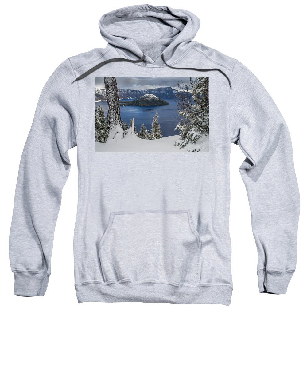 Cascades Sweatshirt featuring the photograph Wizard Island Through Trees by Greg Nyquist