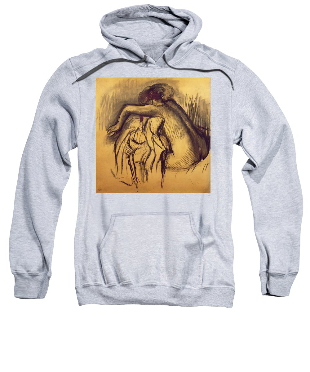 After The Bath; Nude; Female; Study; Drawing; Busy; Washing; Laundry; Daily Life Scene Sweatshirt featuring the drawing Woman Drying by Edgar Degas
