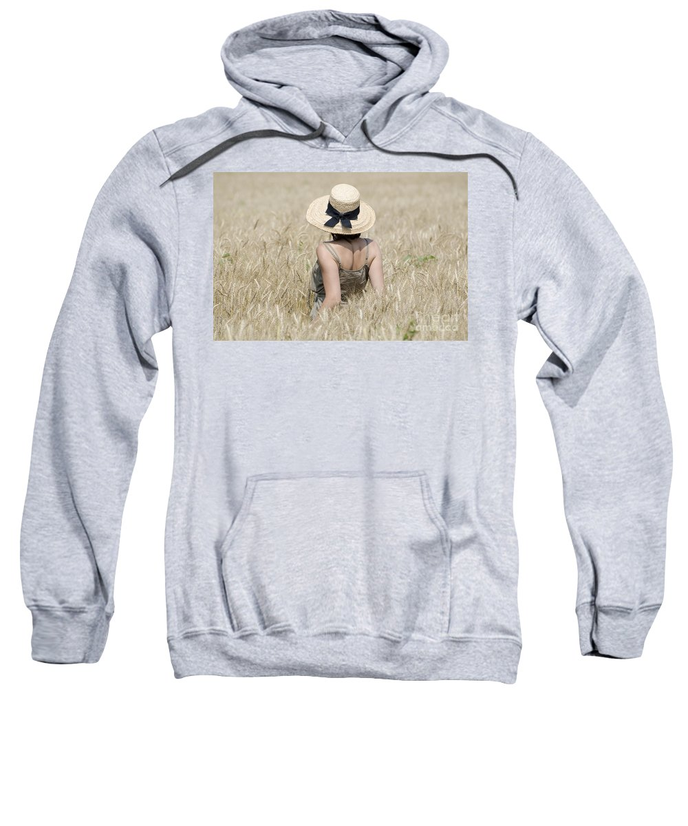 Woman Sweatshirt featuring the photograph Woman On The Wheat Field by Mats Silvan