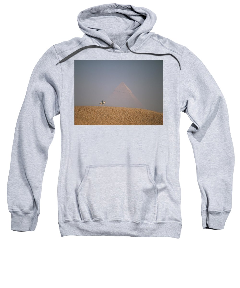 Photography Sweatshirt featuring the photograph Woman Riding Horse With Great Pyramid by Axiom Photographic