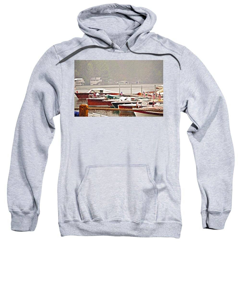 Antique Sweatshirt featuring the photograph Wood Boats In The Rain by Susan Leggett