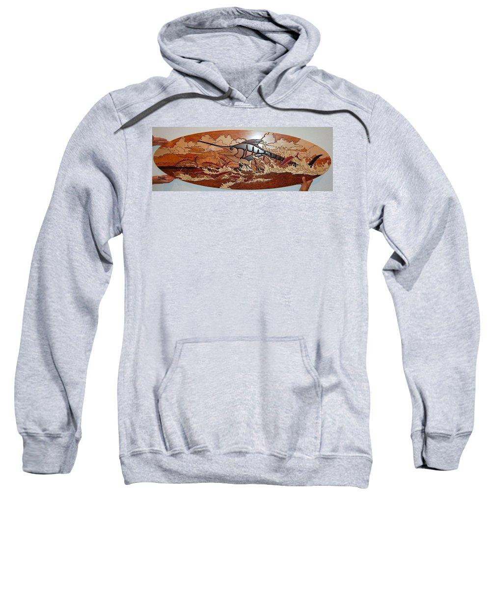 Woodwork Sweatshirt featuring the relief Woodwork by Carey Chen
