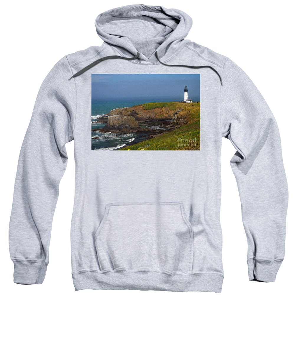 Oregon Sweatshirt featuring the photograph Yaquina Head Lighthouse And Bay - Posterized by Rich Walter