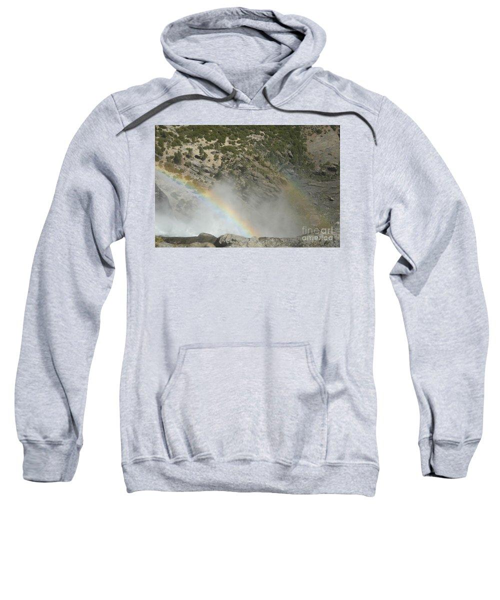 Yosemite National Park Sweatshirt featuring the photograph Yosemite Falls Rainbow by Cassie Marie Photography