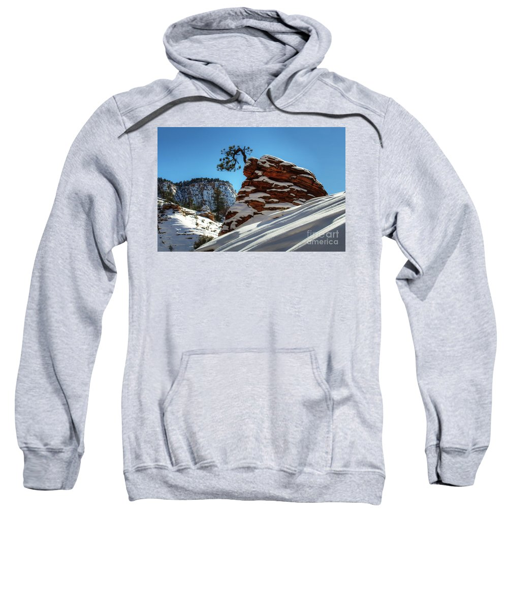 Winter Sweatshirt featuring the photograph Zion National Park In Winter by Bob Christopher