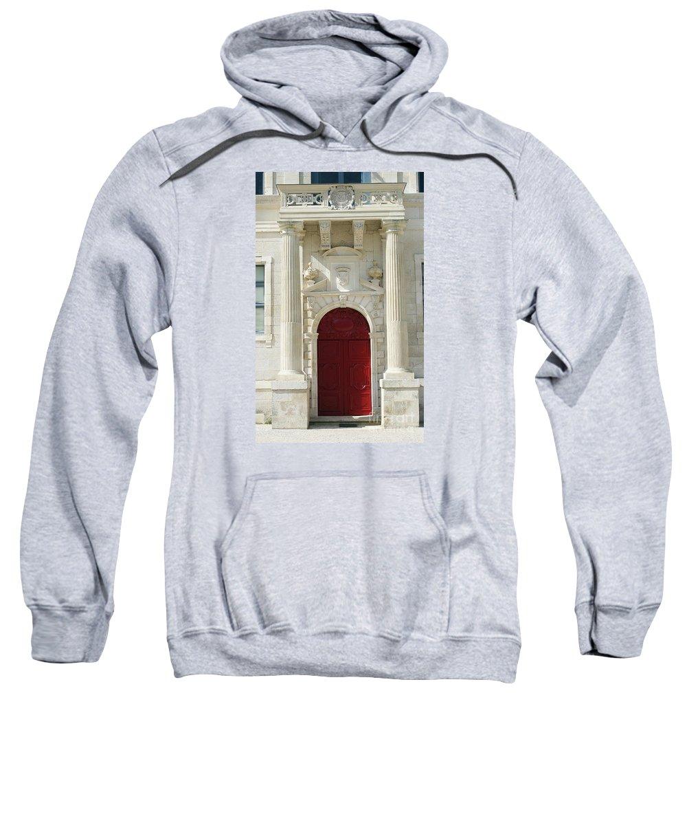 Red Door Sweatshirt featuring the photograph Burgundy Door by Christiane Schulze Art And Photography