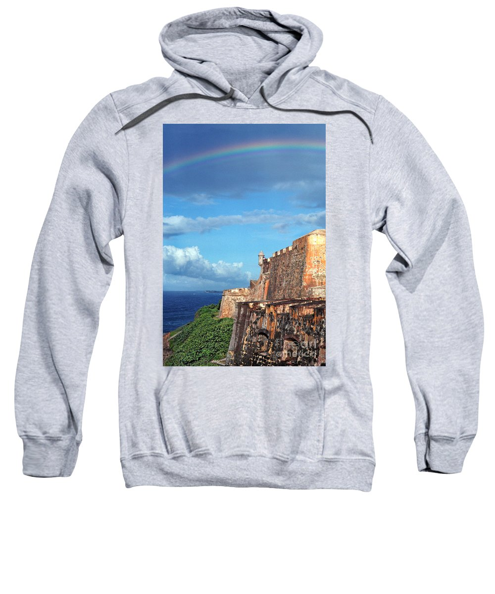 Puerto Rico Sweatshirt featuring the photograph El Morro Fortress Rainbow by Thomas R Fletcher