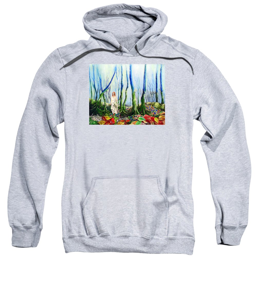 Forest Sweatshirt featuring the painting Forest Of Divine Light by Gordon Behr