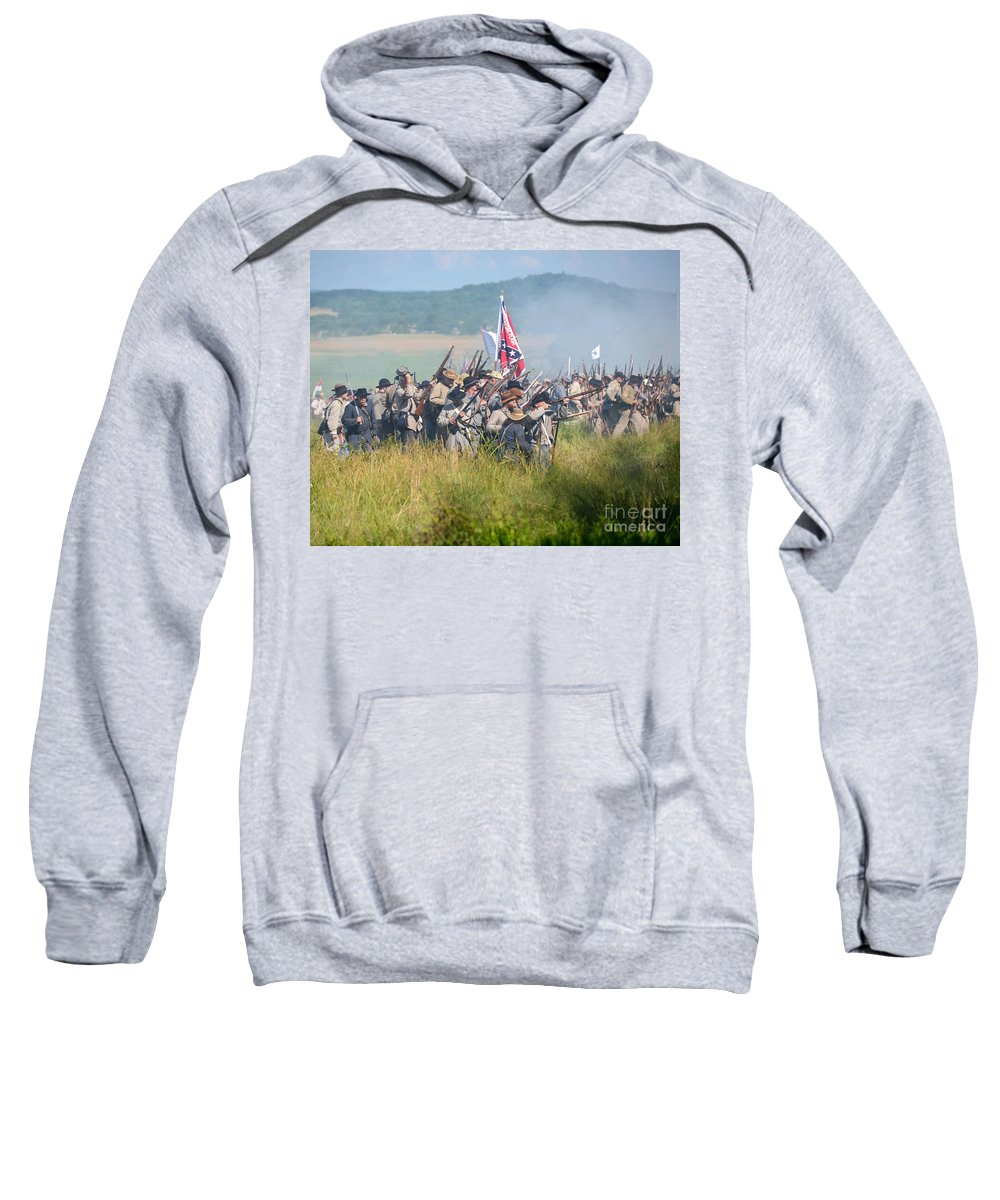 150th Sweatshirt featuring the photograph Gettysburg Confederate Infantry 9214c by Cynthia Staley