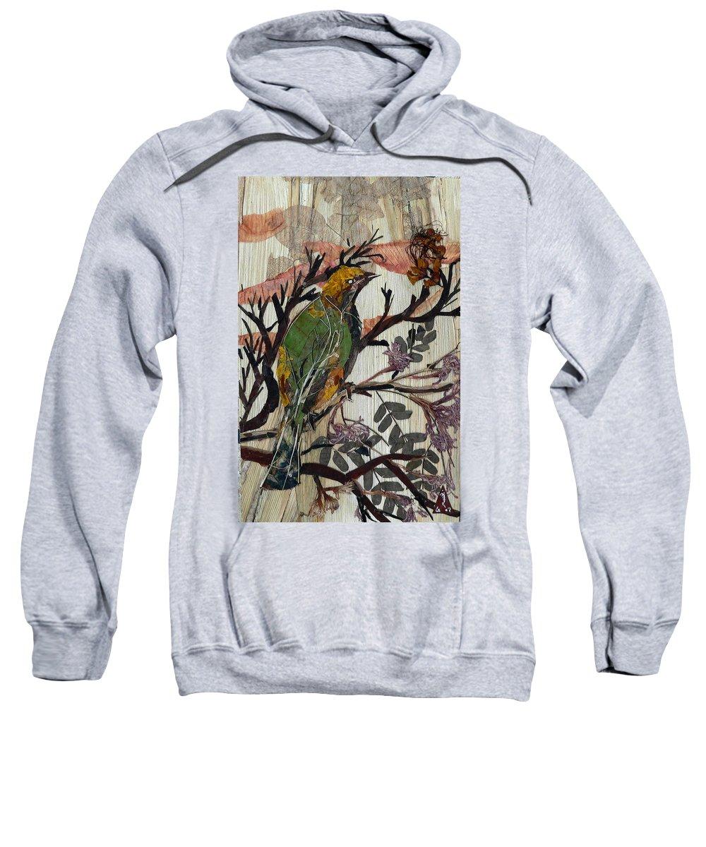 Green Bird Sweatshirt featuring the mixed media Green-yellow Bird by Basant Soni