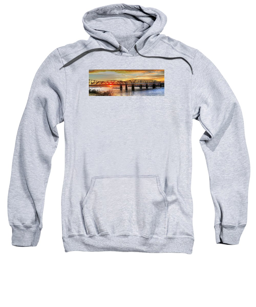 Memphis Sweatshirt featuring the photograph Harahan Bridge In Memphis,tennessee At Sunset by Billy Morris