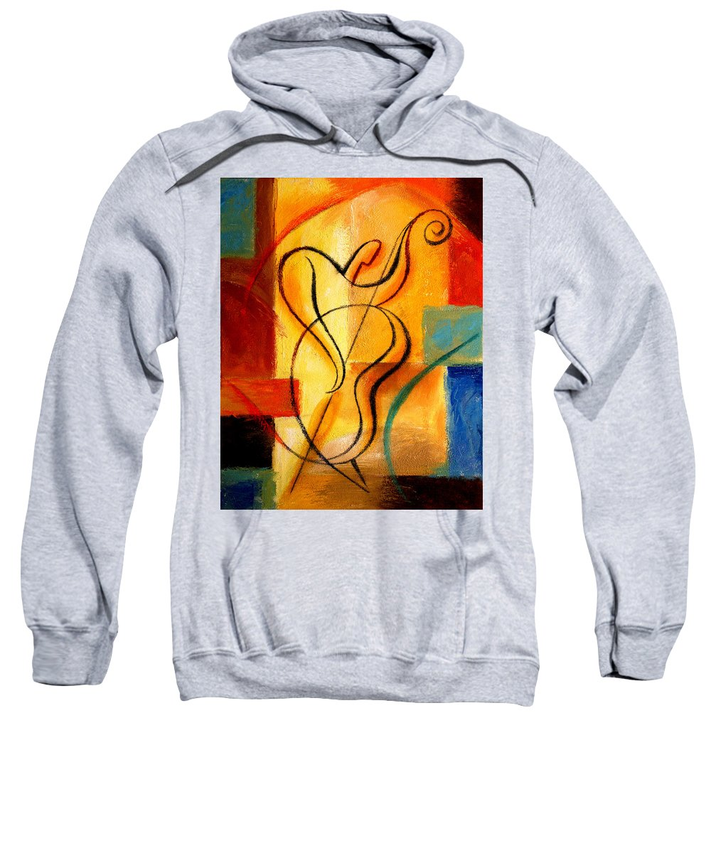West Coast Jazz Sweatshirt featuring the painting Jazz Fusion by Leon Zernitsky