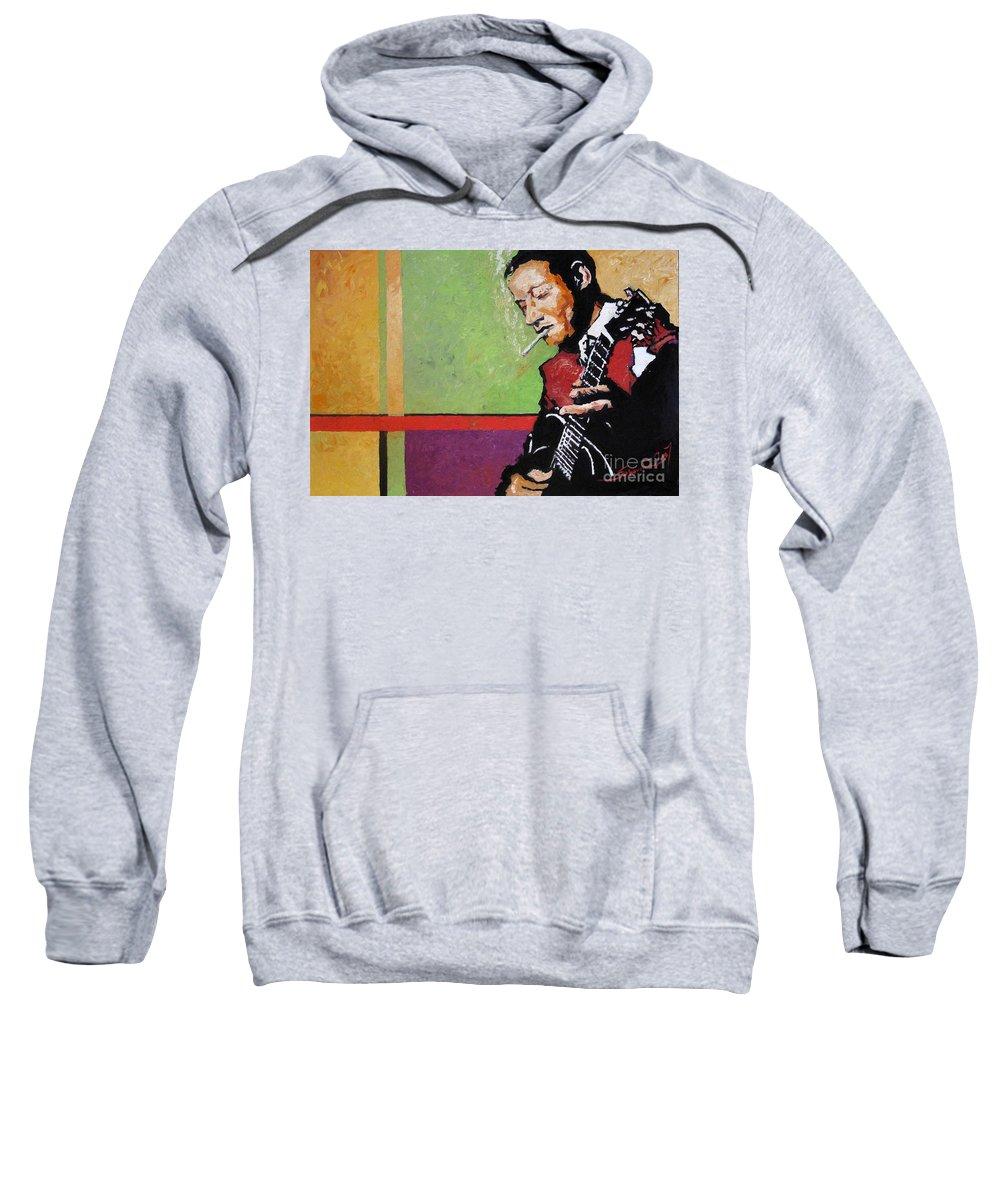 Jazz Sweatshirt featuring the painting Jazz Guitarist by Yuriy Shevchuk