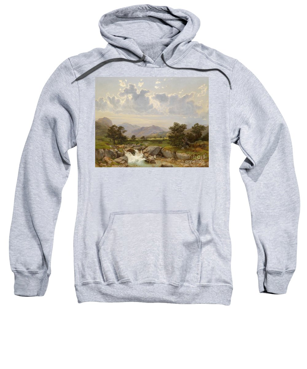 Julius Rose 1828-1911 Sweatshirt featuring the painting Landscape Near Abtenau by Celestial Images