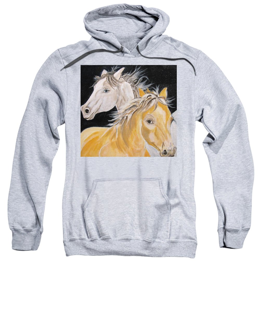 Horses Sweatshirt featuring the painting Love Story Part 2 by Donna Steward