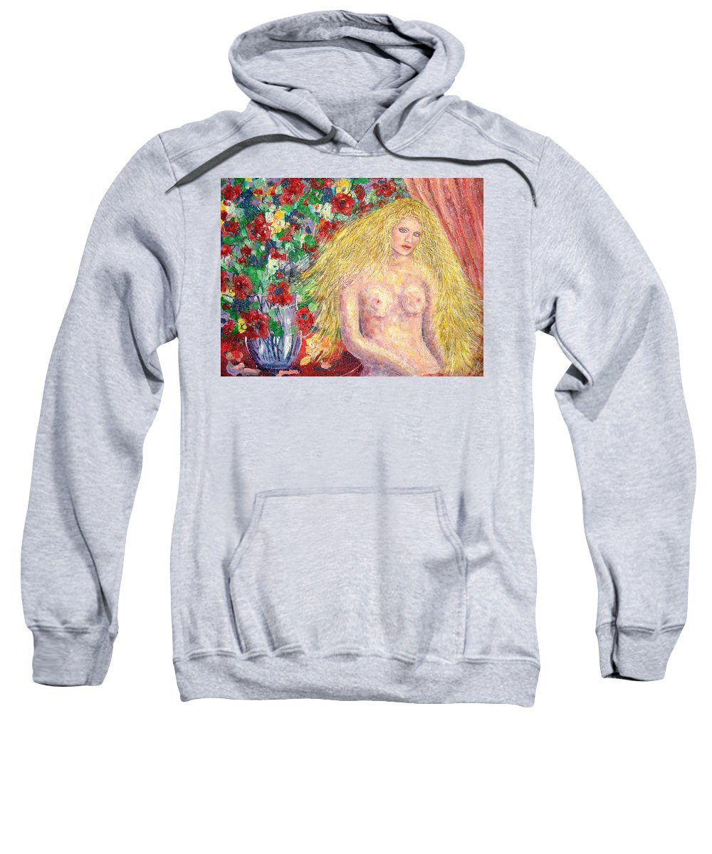 Nude Sweatshirt featuring the painting Nude Fantasy by Natalie Holland