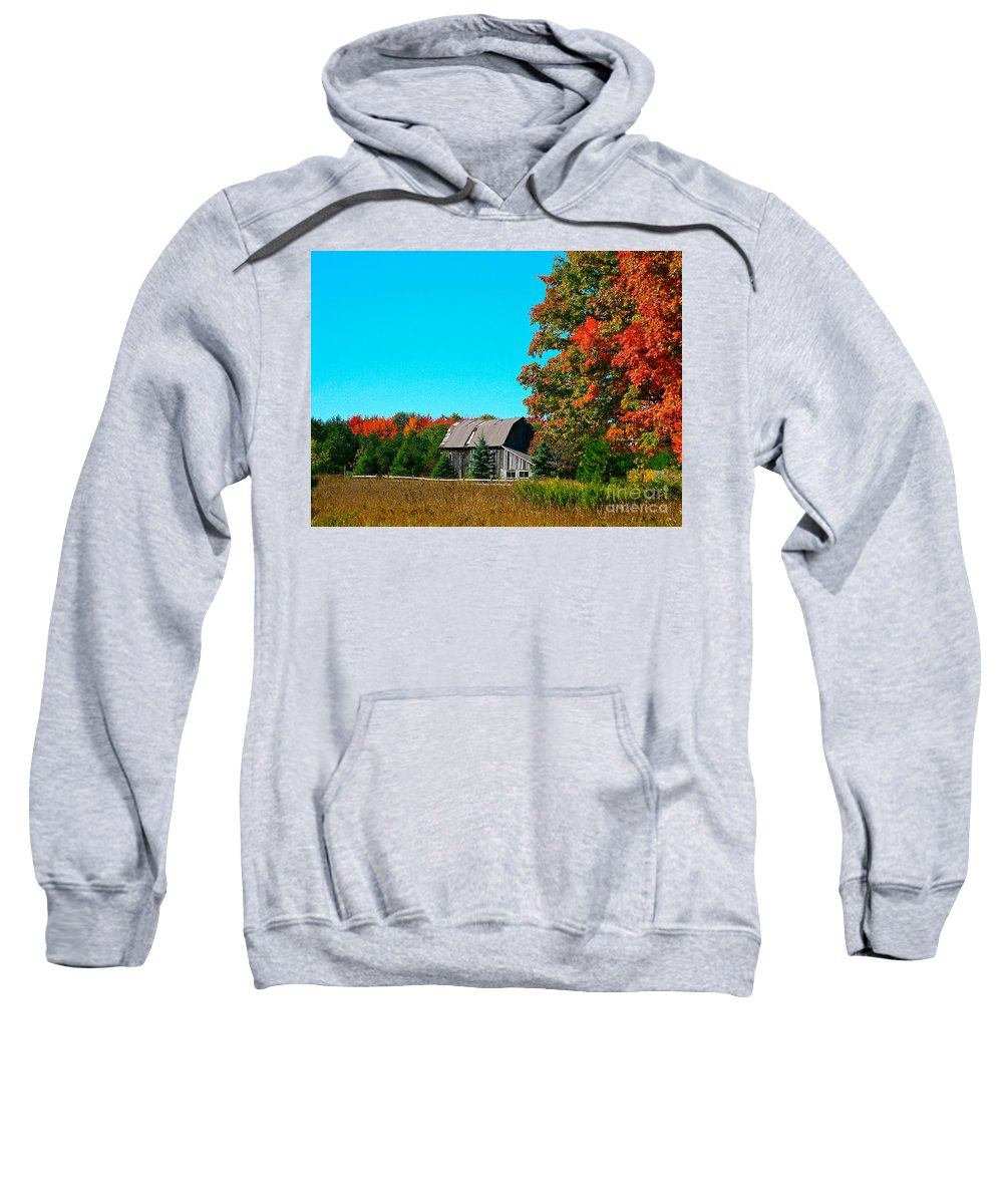 Old Barn Sweatshirt featuring the photograph Old Barn In Fall Color by Robert Pearson