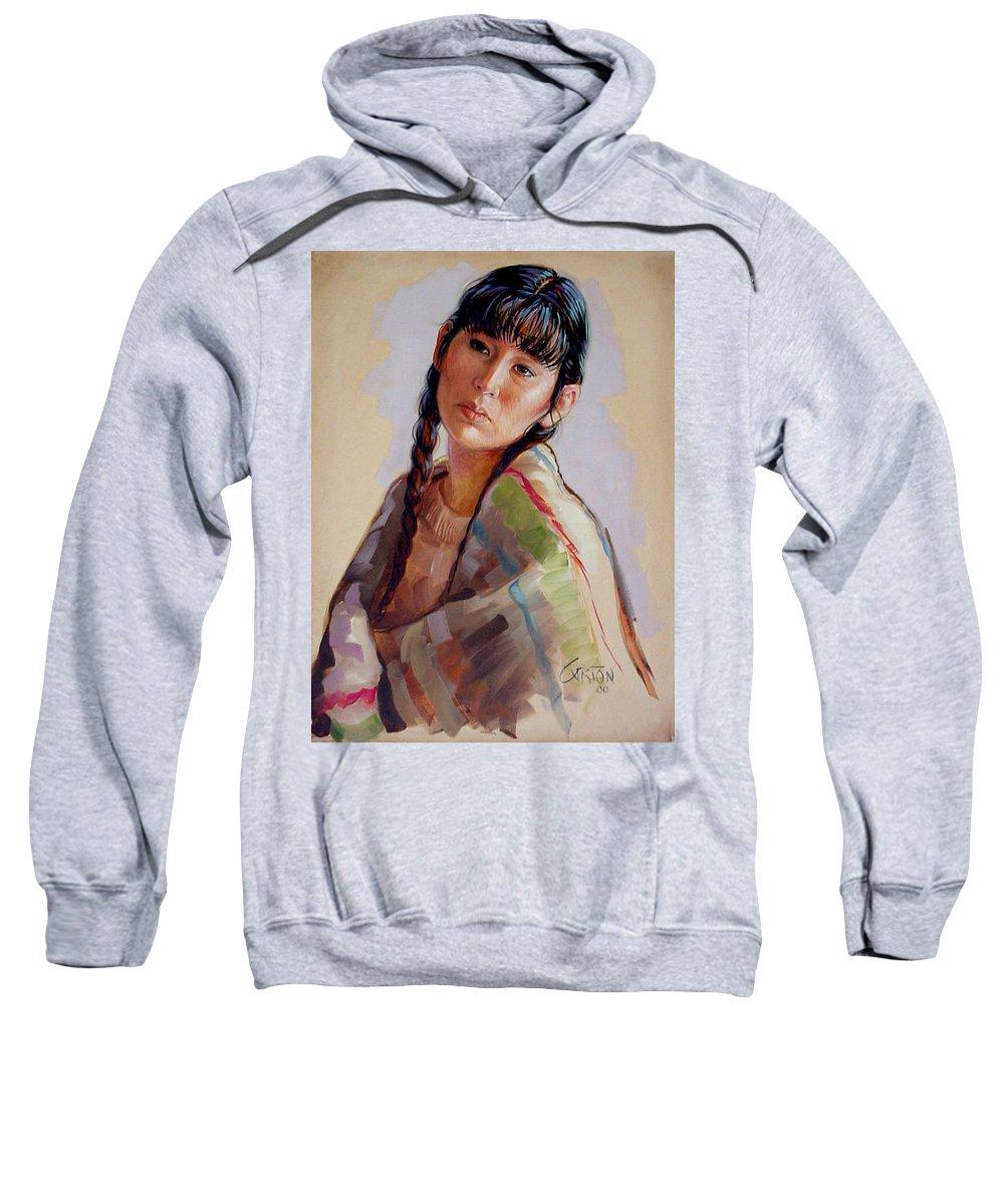Sacajawea Sweatshirt featuring the painting Sacajawea  Study by Jerrold Carton