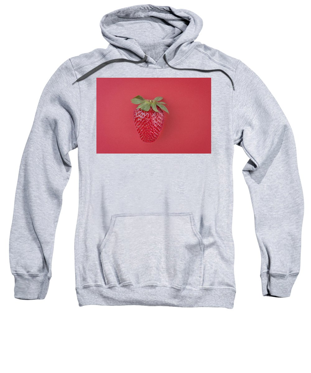 Background Sweatshirt featuring the photograph Strawberry In Red I by Paulo Goncalves