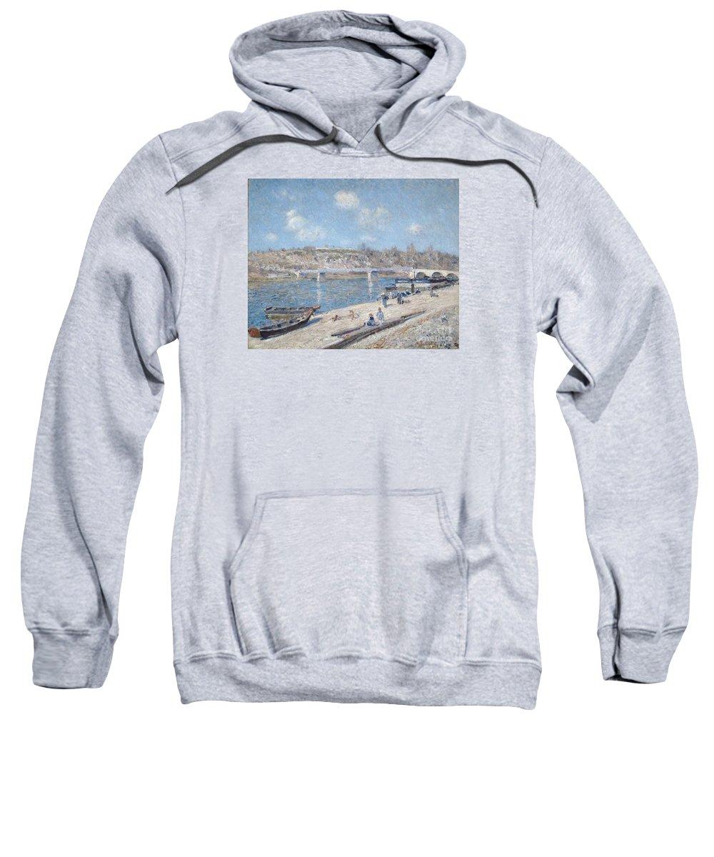 The Beach At Saint-mammes Sweatshirt featuring the painting The Beach At Saint Mammes by MotionAge Designs