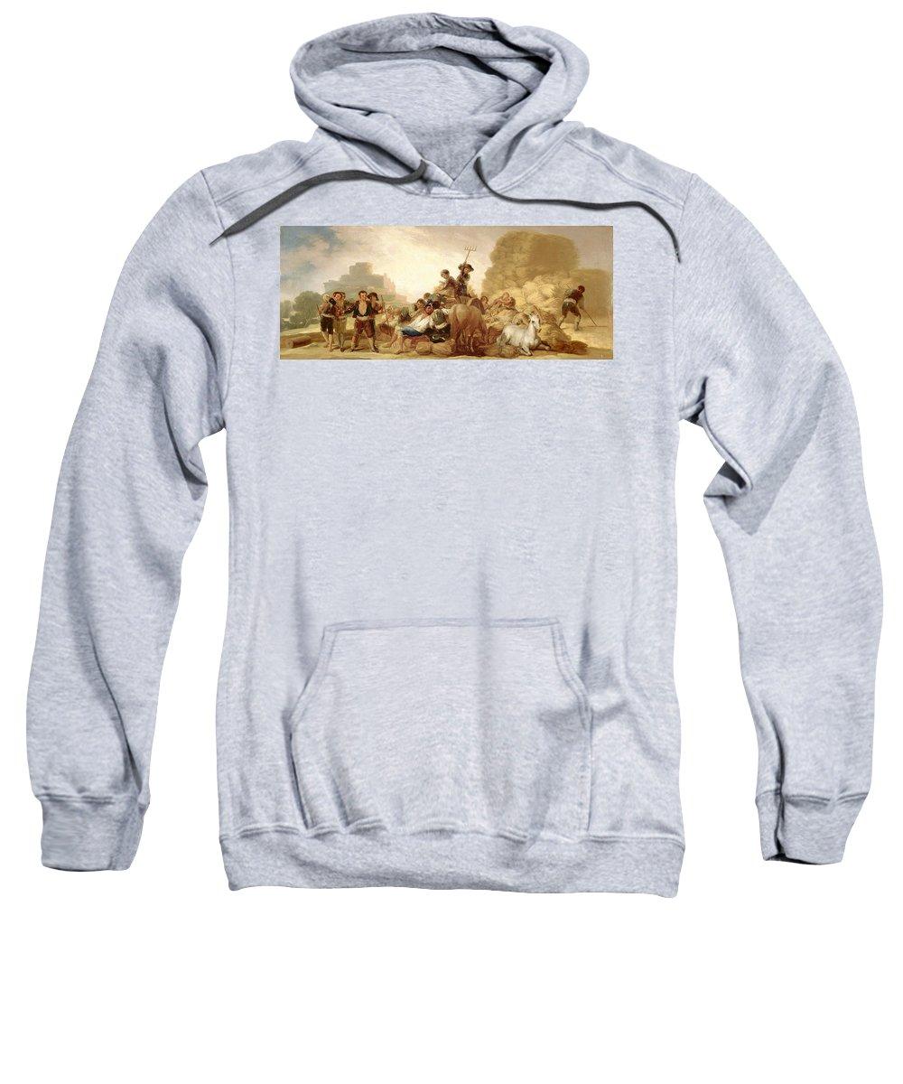 Francisco Goya Y Lucientes Sweatshirt featuring the painting The Threshing Floor by Francisco Goya y Lucientes