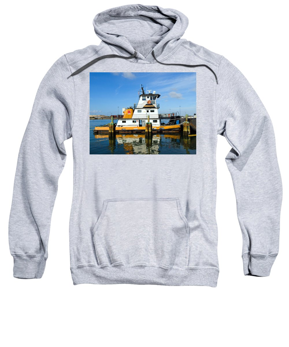 Florida; East; Space; Coast; Tug; Boat; Tugboat; Tow; Towboat; Pusher; Pushes; Push; Cargo; Fuel; Oi Sweatshirt featuring the photograph  Tug Indian River Is Part Of The Scene At Port Canvaeral Florida by Allan Hughes