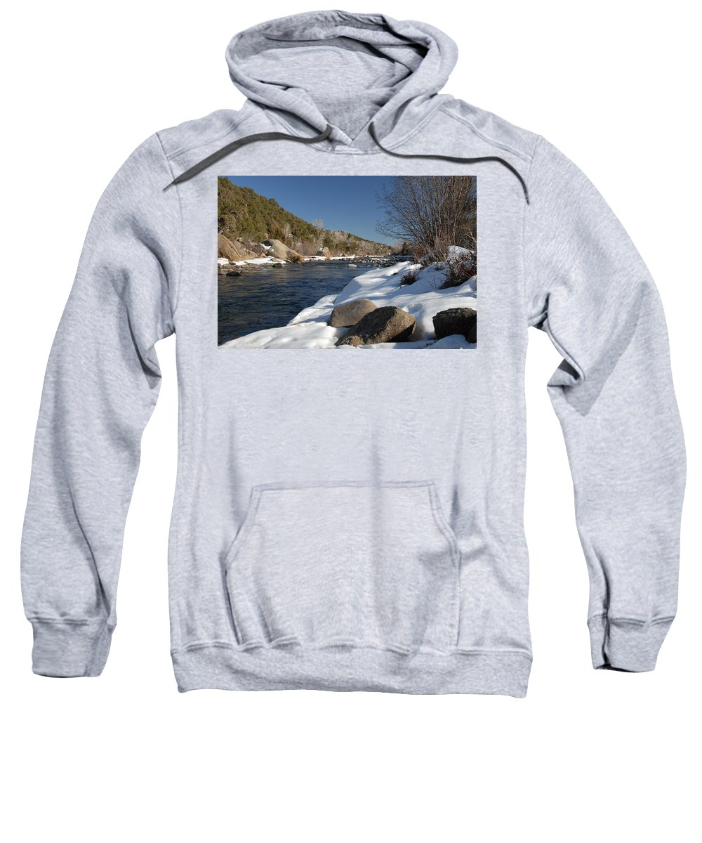 Arkansas River Sweatshirt featuring the photograph Winter On The Arkansas by Bill Hyde