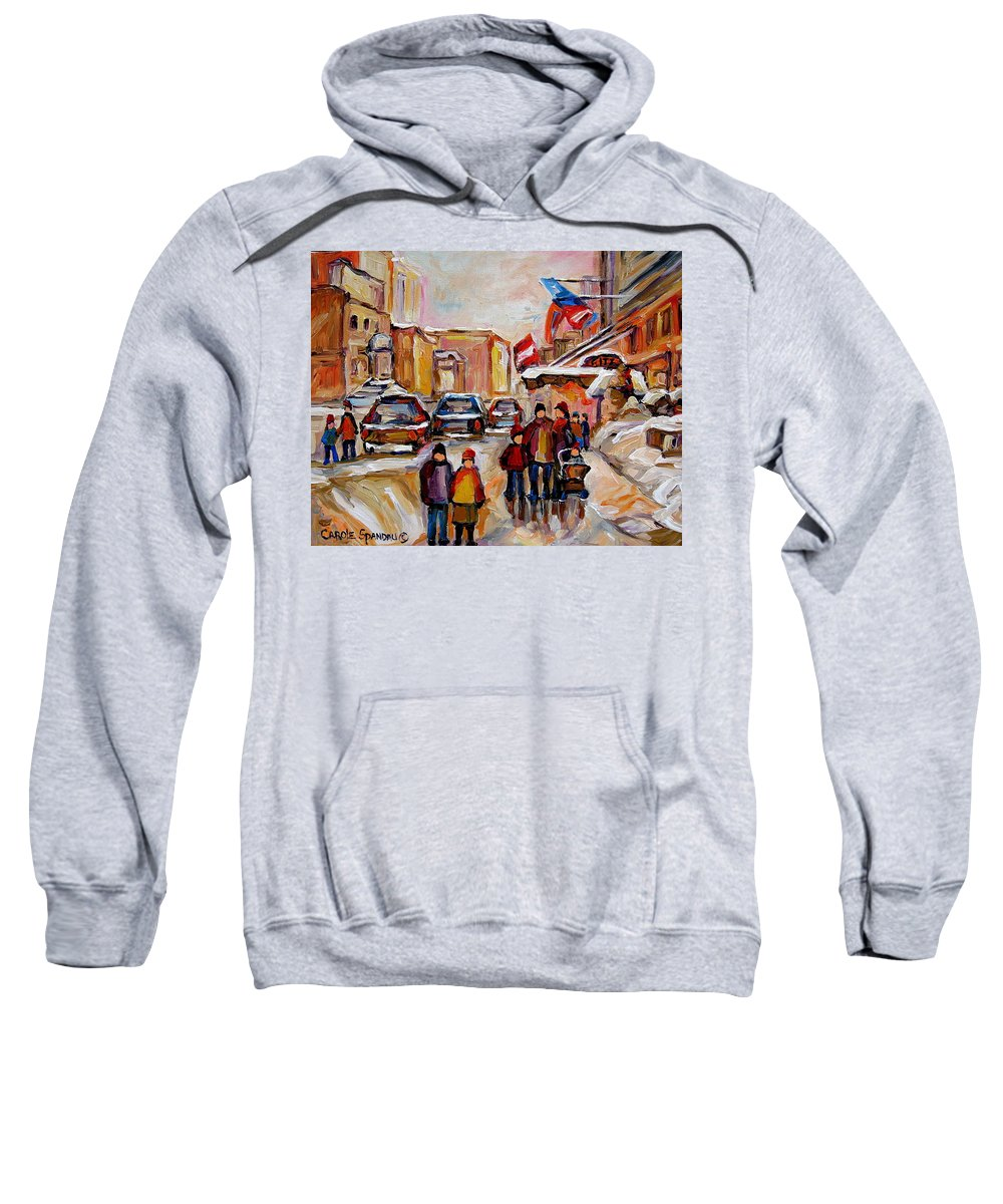 Montreal Sweatshirt featuring the painting Winter Walk In Montreal by Carole Spandau