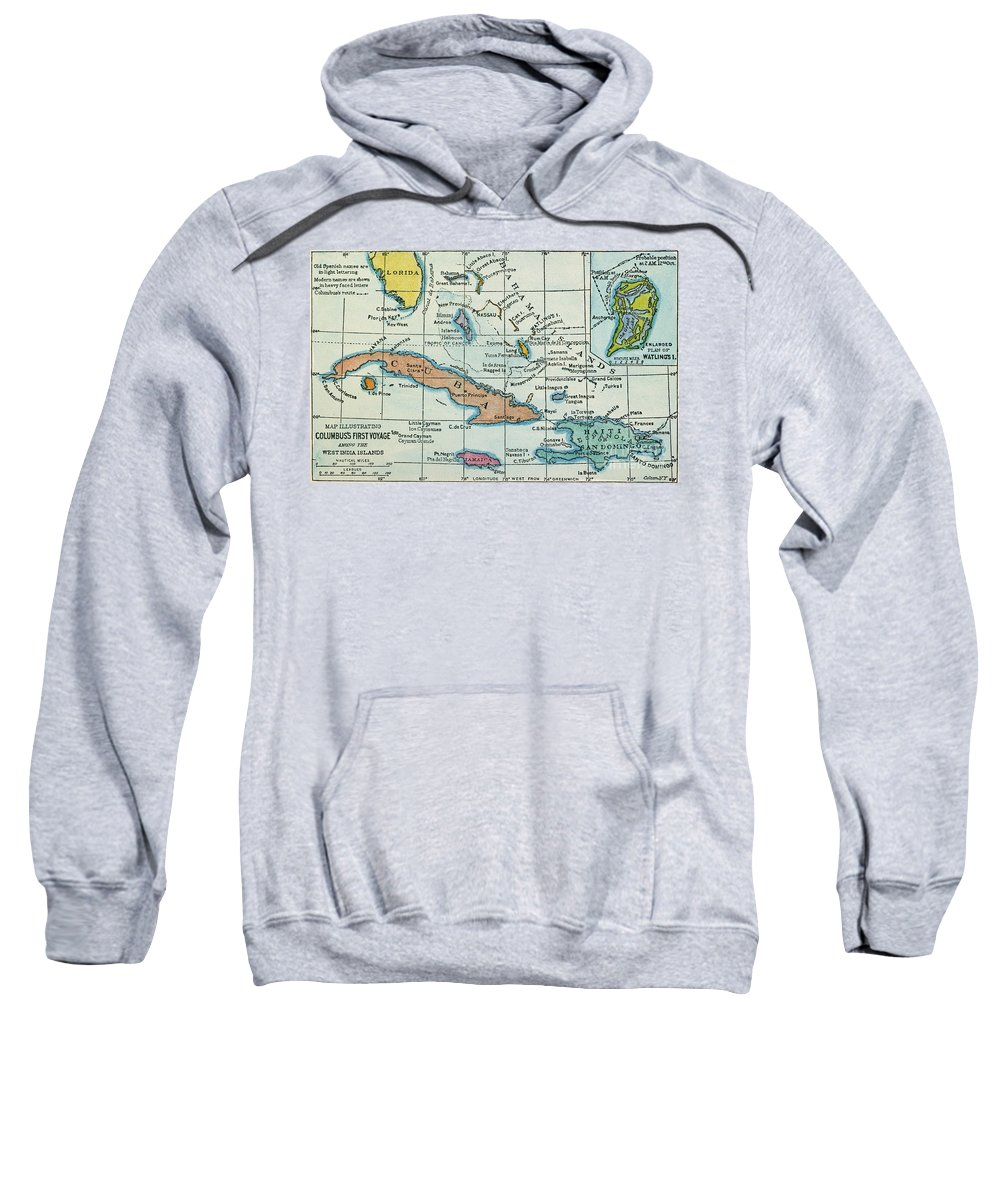 1492 Sweatshirt featuring the painting Columbus: West Indies Map by Granger