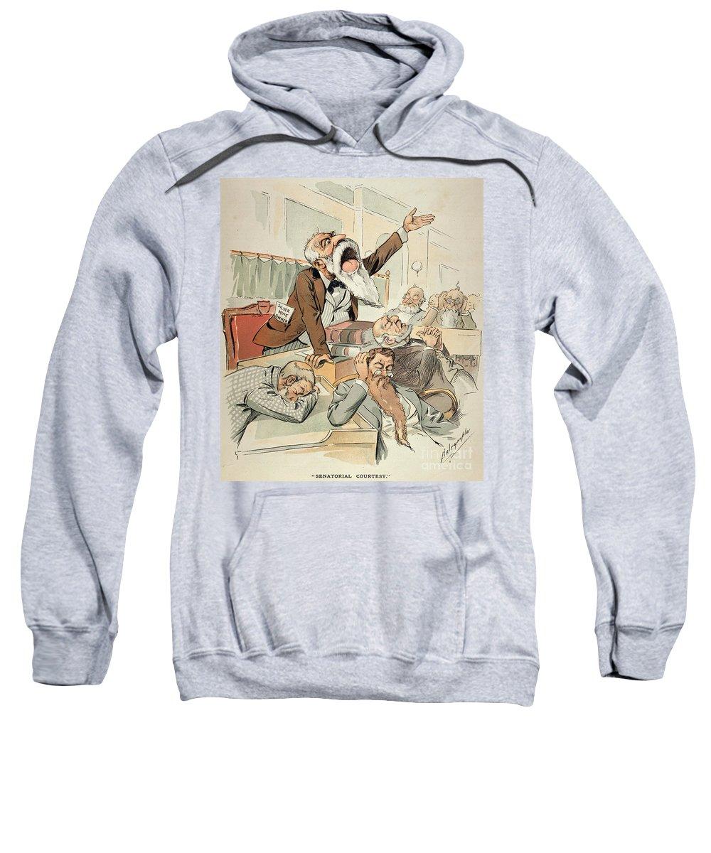 1893 Sweatshirt featuring the painting Senate Cartoon,free Silver by Granger