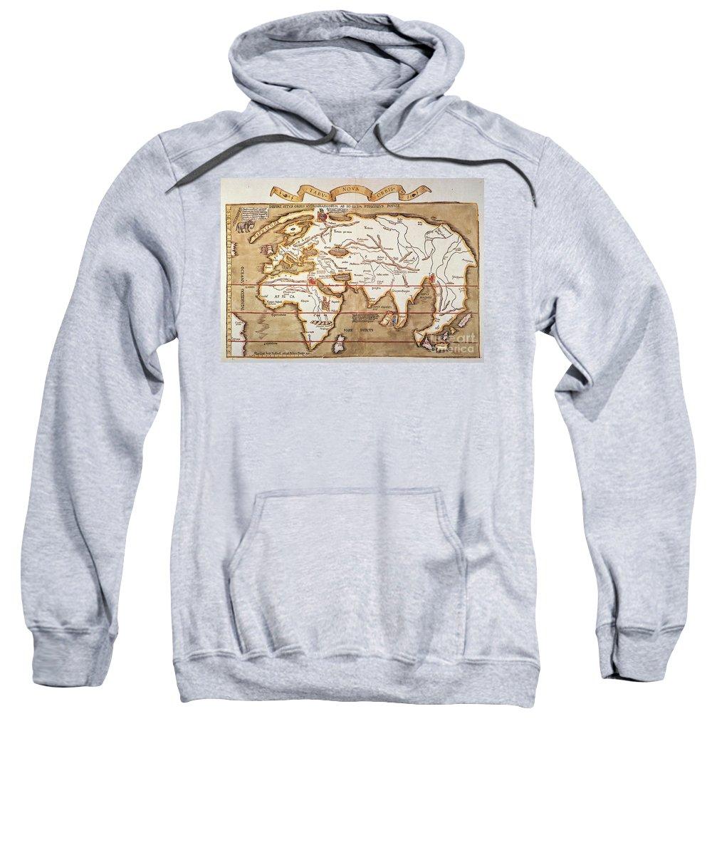 1535 Sweatshirt featuring the painting Waldseemuller: World Map by Granger