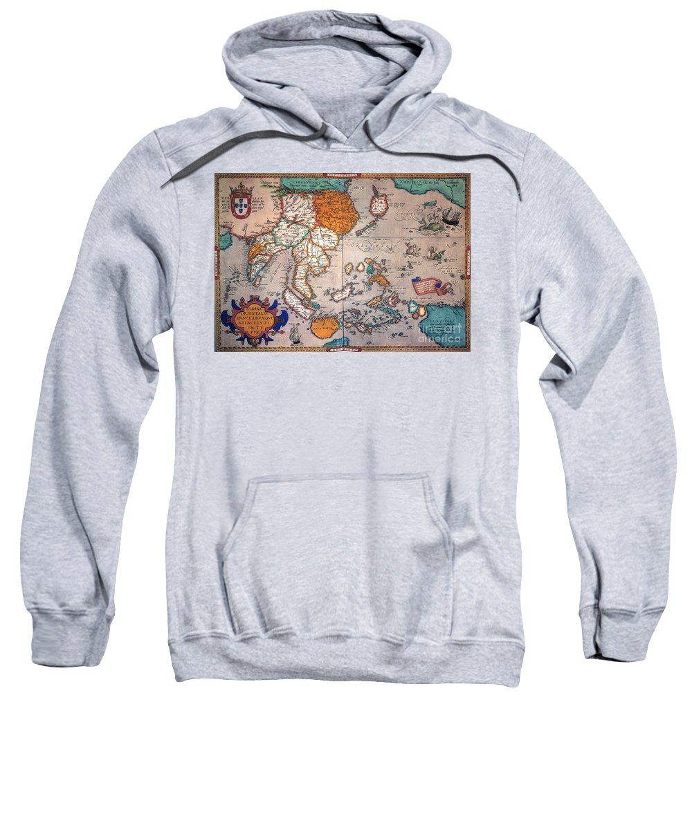 1595 Sweatshirt featuring the painting Pacific Ocean/asia, 1595 by Granger