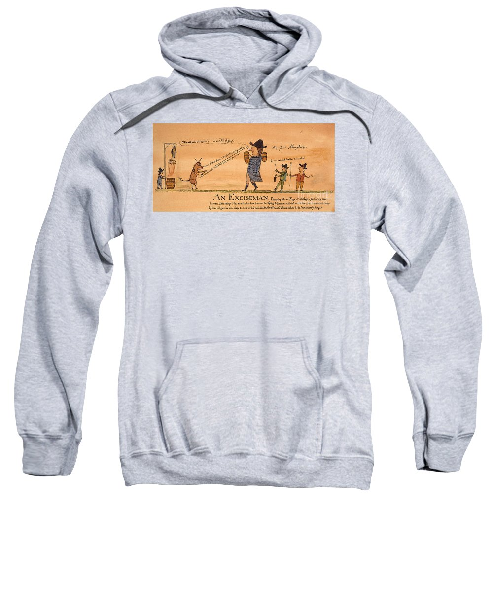 1794 Sweatshirt featuring the painting Cartoon: Whiskey Tax, 1794 by Granger