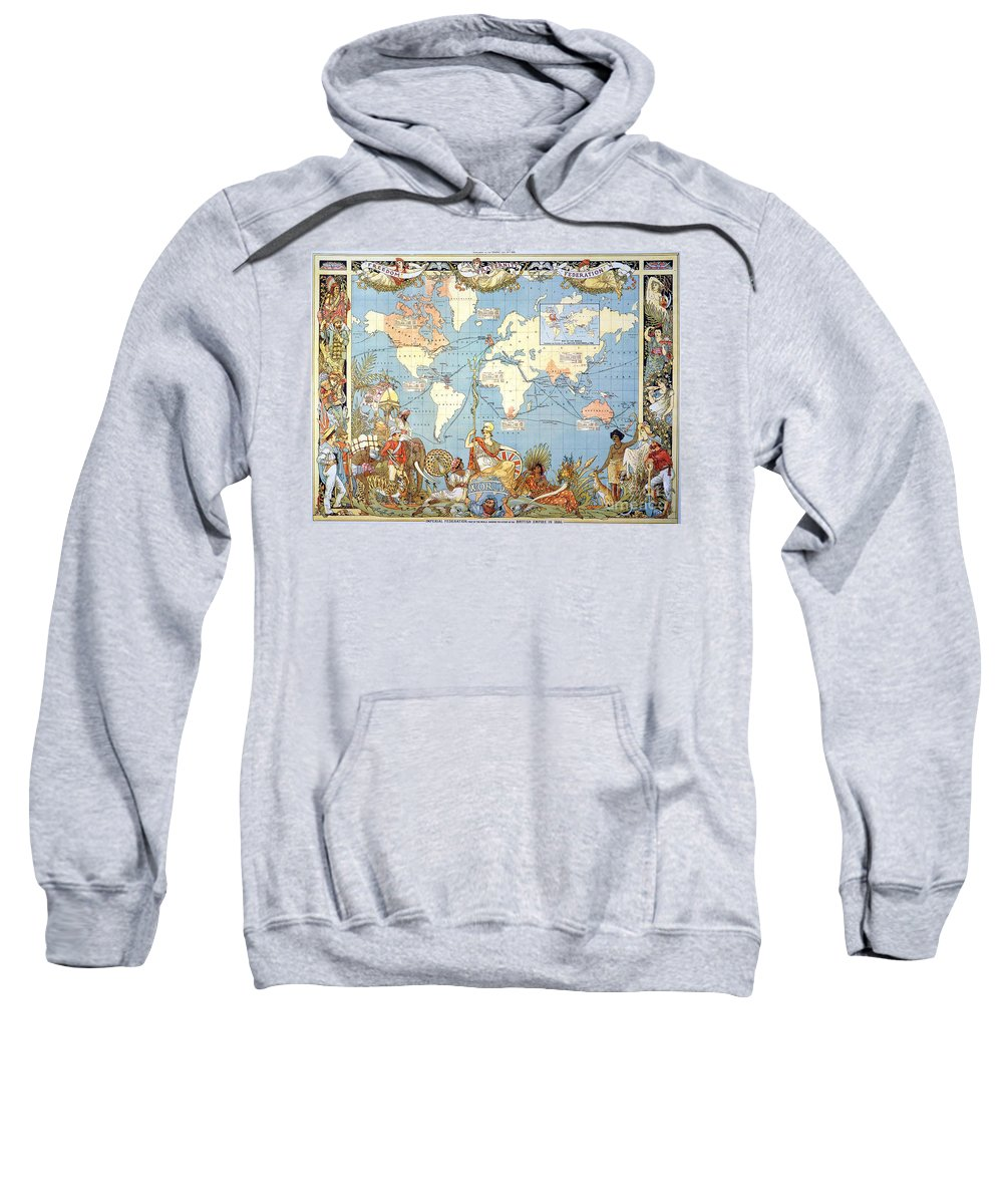 1886 Sweatshirt featuring the painting Map: British Empire, 1886 by Granger