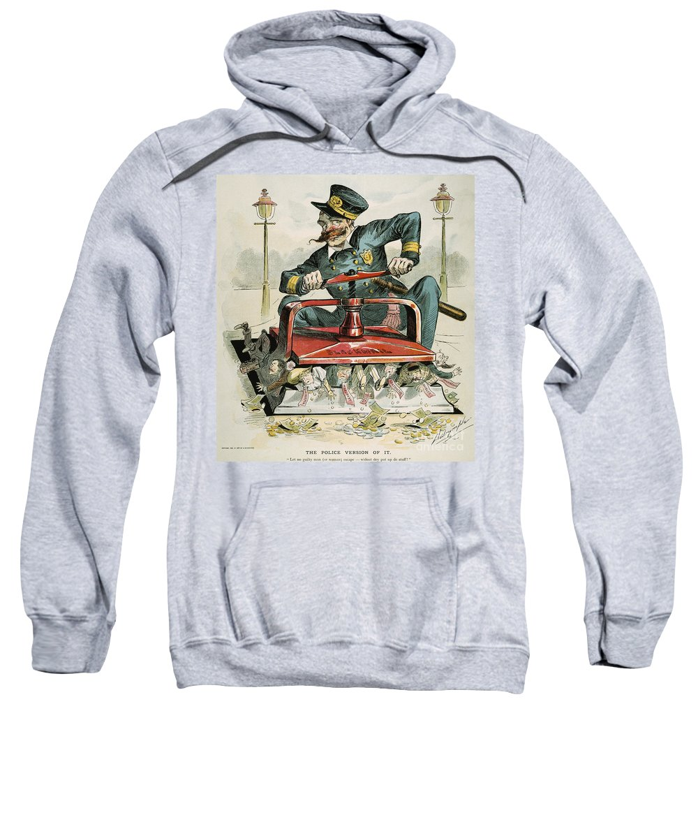 1894 Sweatshirt featuring the painting Police Corruption Cartoon by Granger