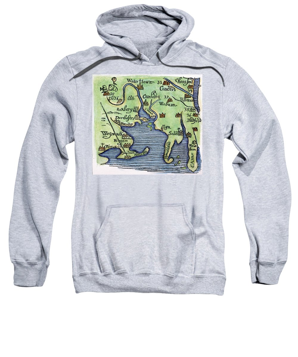 1677 Sweatshirt featuring the painting New England Map 1677 by Granger