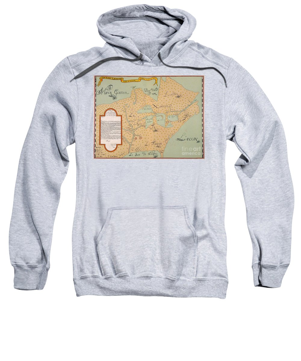 1674 Sweatshirt featuring the painting Jolliet: North America 1674 by Granger