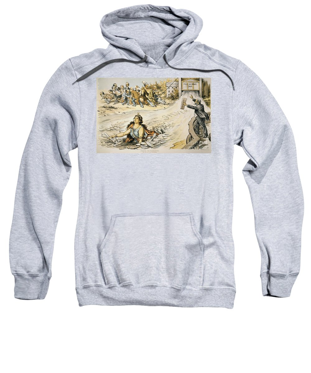 1890 Sweatshirt featuring the painting Free Silver Cartoon, 1890 by Granger