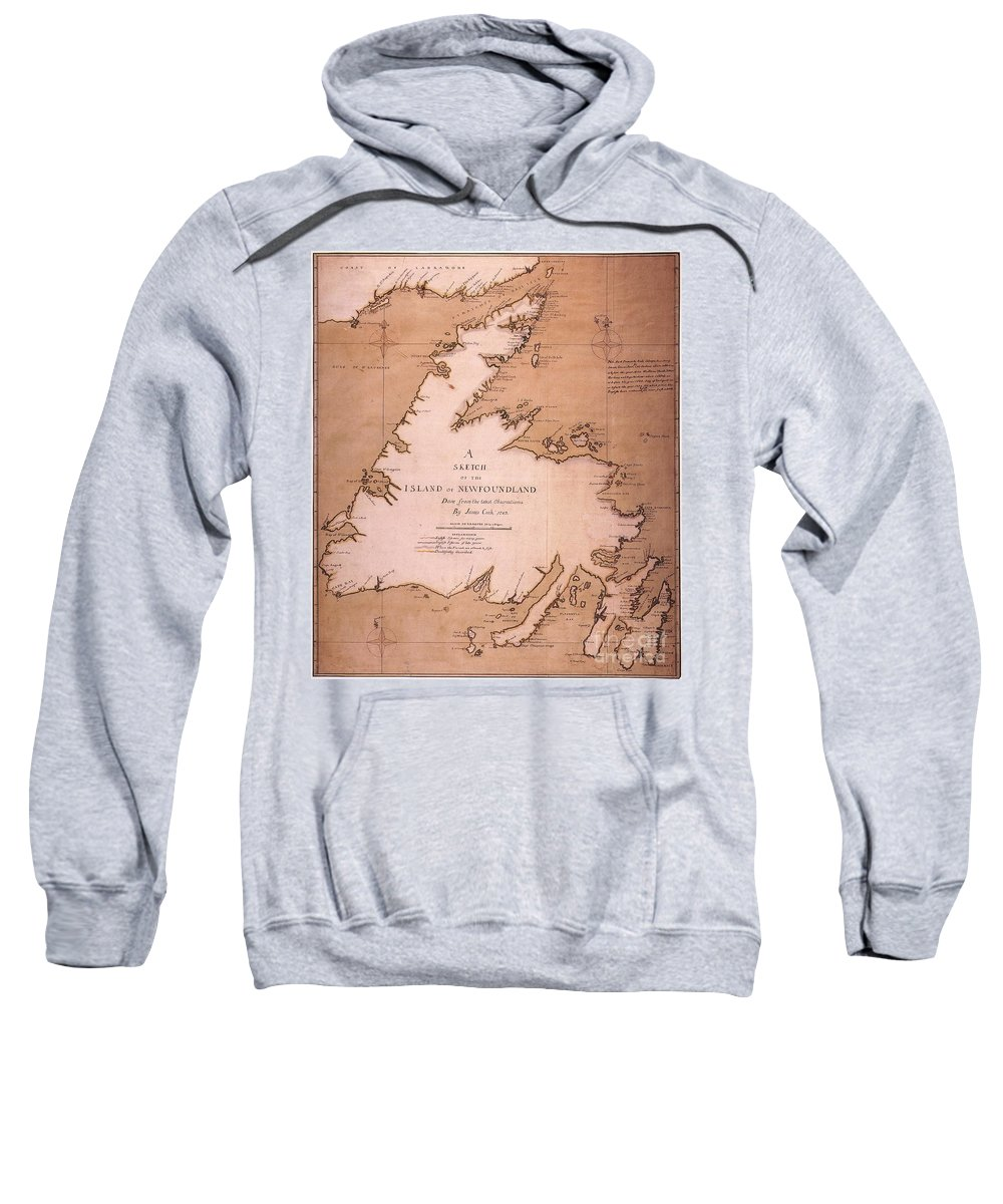 1763 Sweatshirt featuring the painting Cook: Newfoundland, 1763 by Granger