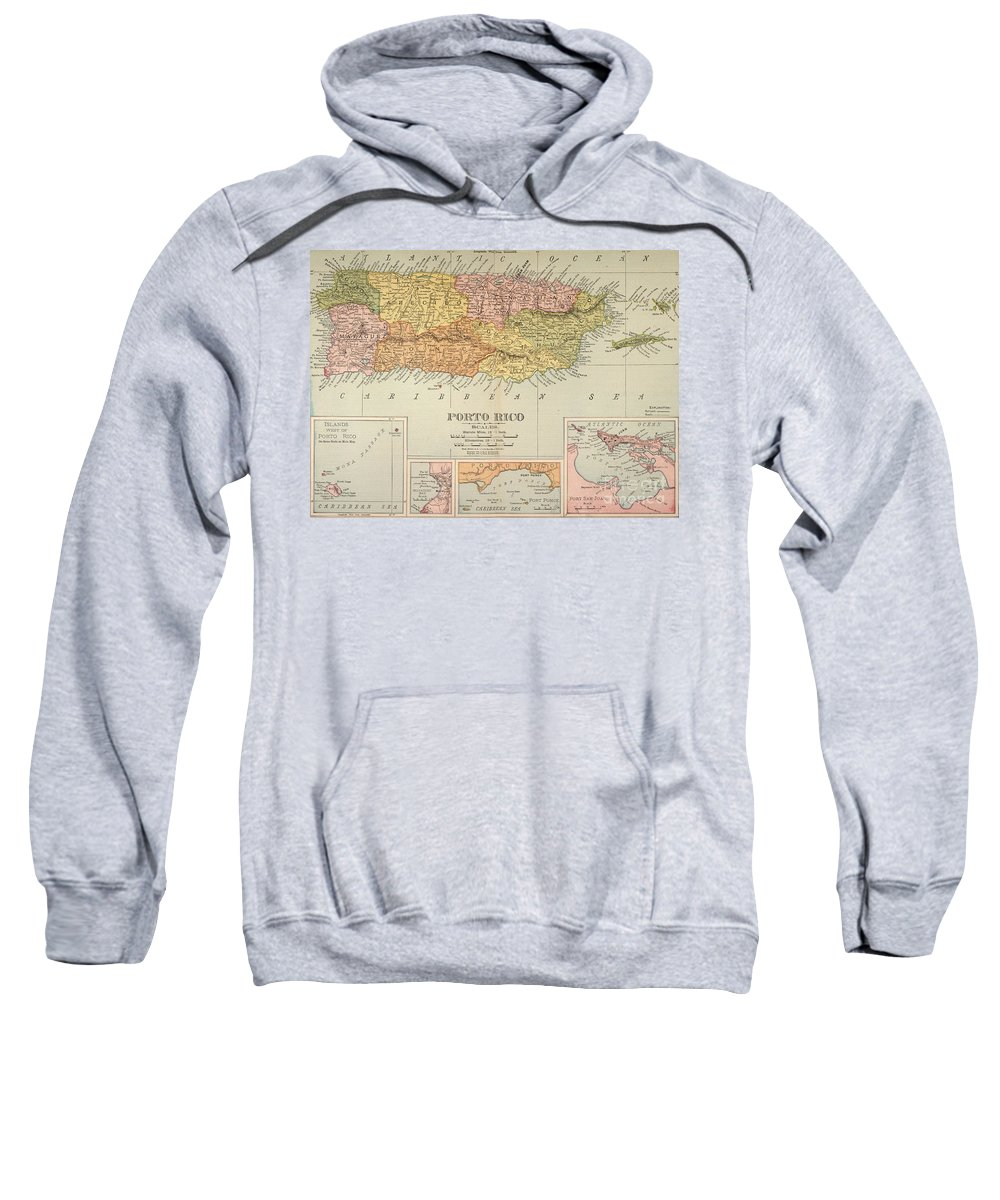 1900 Sweatshirt featuring the painting Map: Puerto Rico, 1900 by Granger