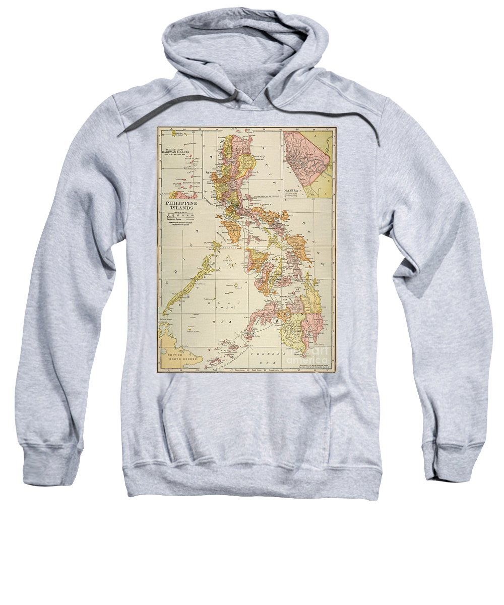 1905 Sweatshirt featuring the painting Map: Philippines, 1905 by Granger