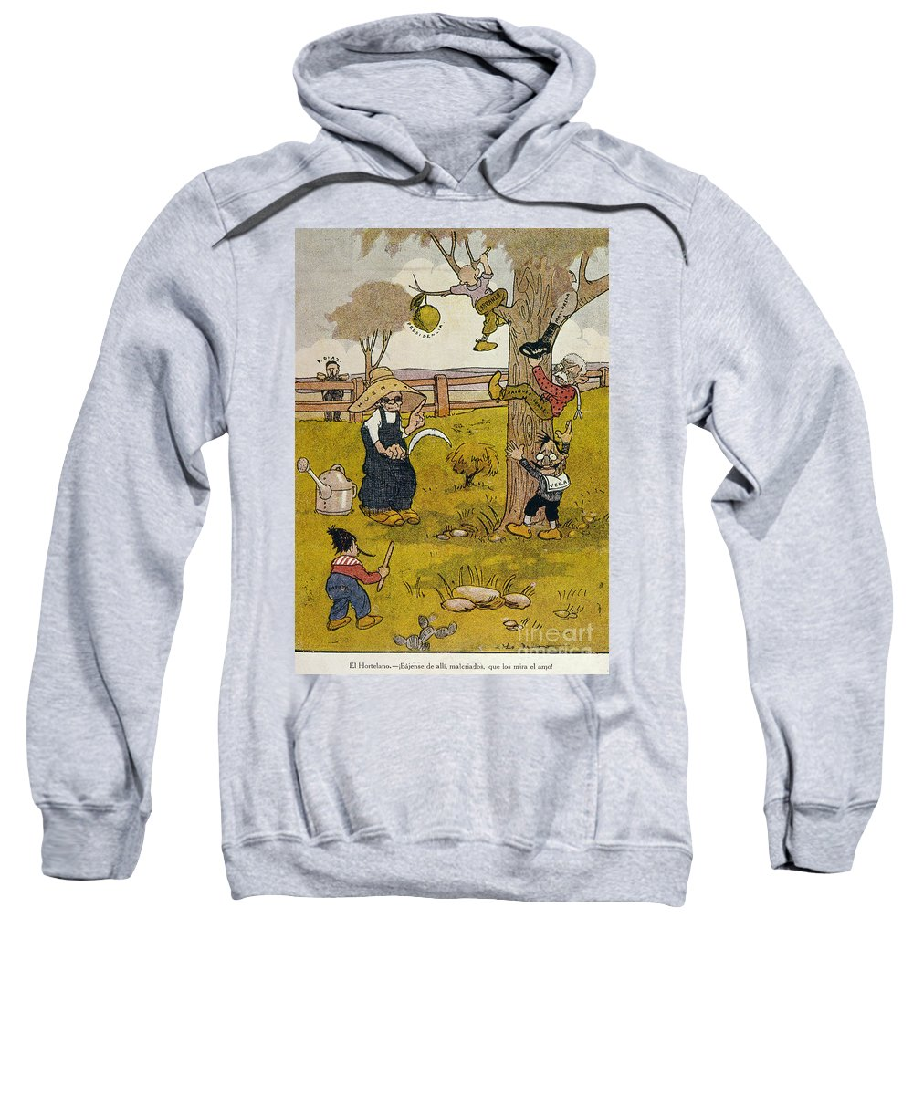 1913 Sweatshirt featuring the painting Mexico: Political Cartoon by Granger