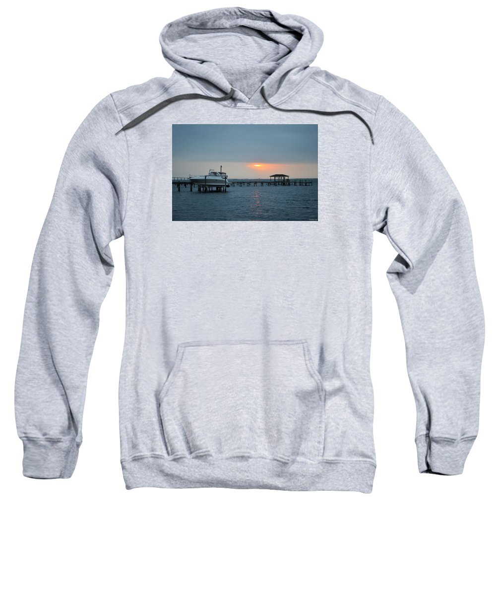 20120204 Sweatshirt featuring the photograph 0204 Faint Sunrise On Sound by Jeff at JSJ Photography
