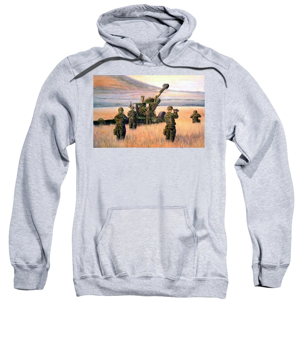 Signed And Numbered Prints Of The Montana National Guard Sweatshirt featuring the print 1-190th Artillery by Scott Robertson