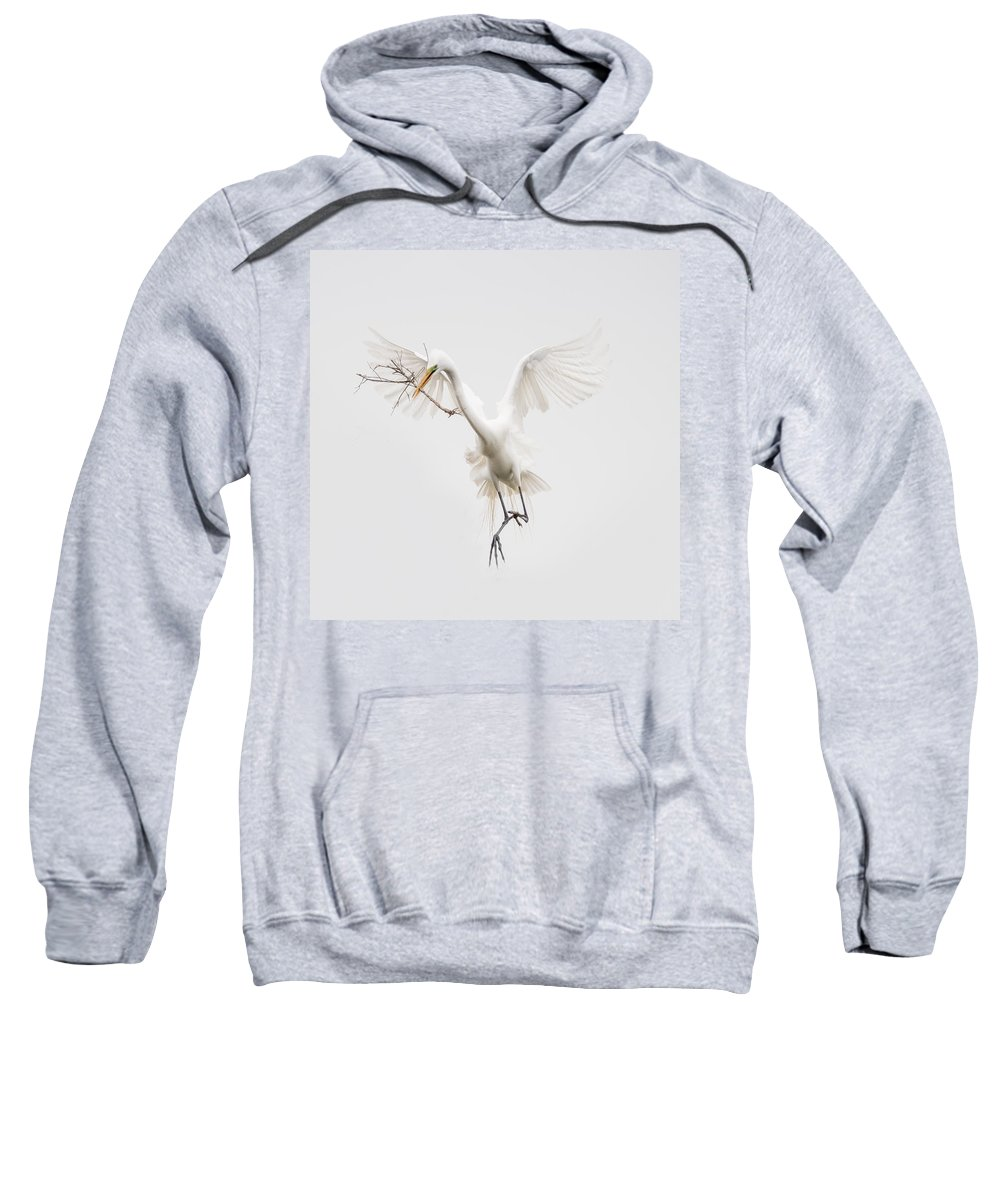 Egret Sweatshirt featuring the photograph A Stick For You by Linda Murdock