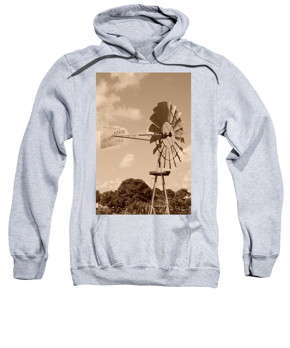 Sepia Sweatshirt featuring the photograph Aermotor Windmill by Rob Hans