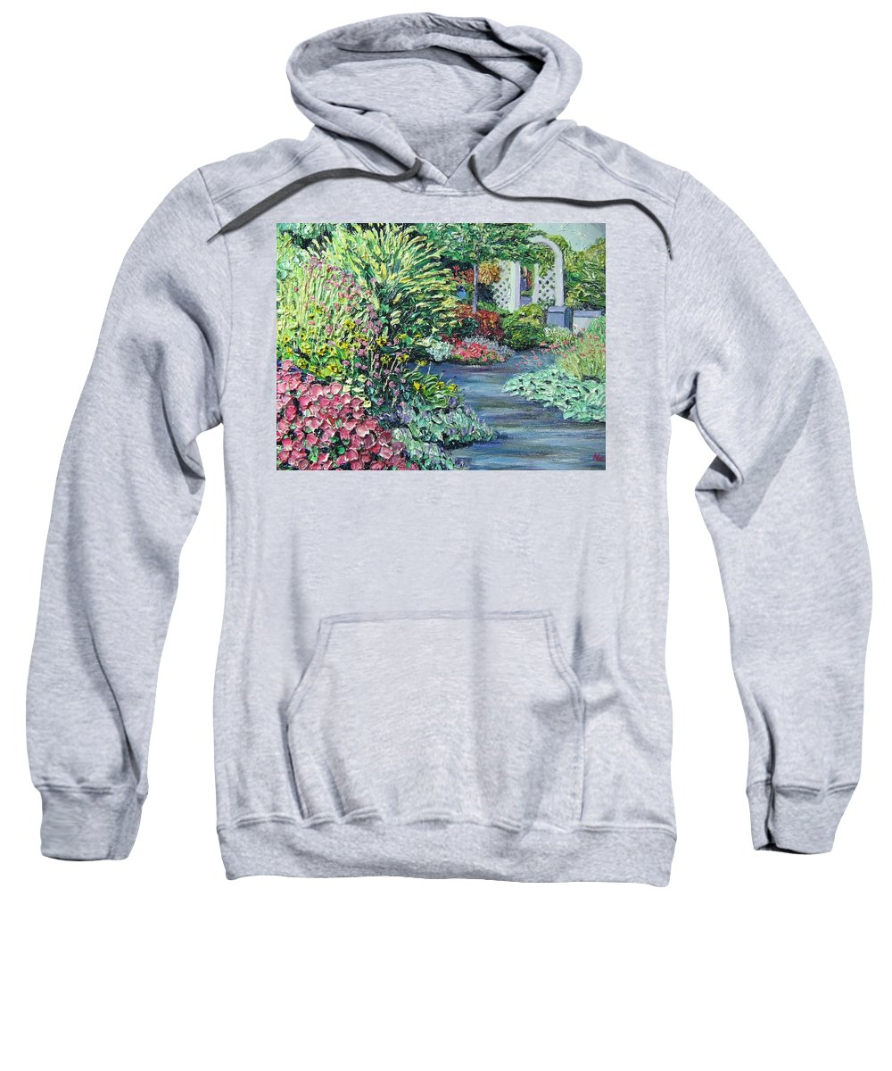 Garden Sweatshirt featuring the painting Amelia Park Pathway by Richard Nowak